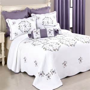 Embroidered Bedspreads Gwen Embroidered Floral Quilted Bedspread