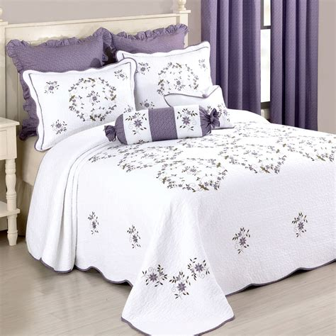 Quilted Bedspreads Sale Gwen Embroidered Floral Quilted Bedspread