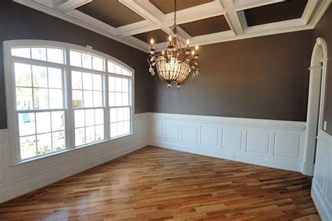 coffered walls white wainscoting with chocolate walls coffered ceiling crown molding bead board wooden