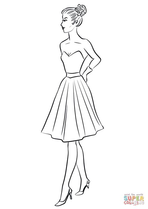 elegant dresses coloring pages 1950 s woman in cocktail dress coloring page free