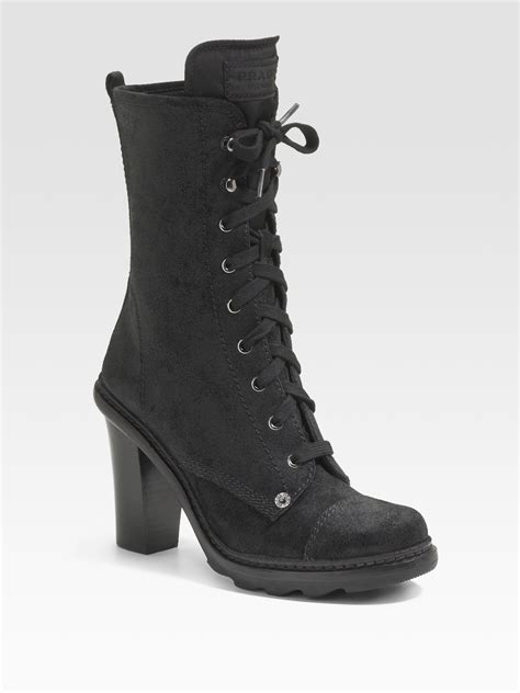 prada lace up suede ankle boots in black lyst