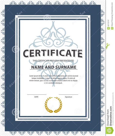 Certificate Of Graduation Letter Certificate Template Diploma Letter Size Vector Stock Vector Image 62172747