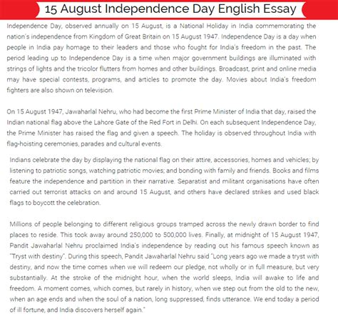 India Independence Day Essay by Independence Day Essay For Students Telugu Tamil Quiz Speech