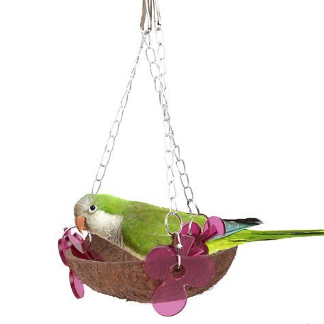 Handmade Bird Toys - 17 cm bird toys coconut shell acrylic parrot wooden