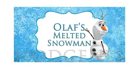 free printable melted olaf labels olaf s melted snowman water bottle labels by modgenesdesigns