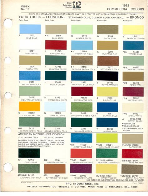 ford paint colors paint chips 1973 ford truck fleet commercial econoline