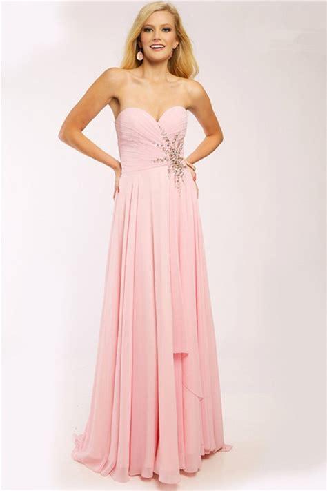 light pink chiffon dress elegant a line strapless sweetheart light pink chiffon