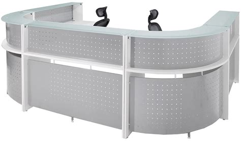 glass top reception desk white u shaped 2 person glass top reception desk