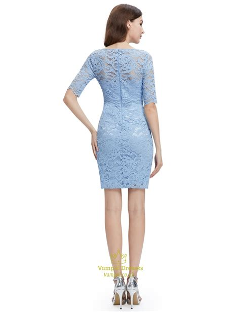 Sleeve Sheath Lace Dress light blue lace sheath cocktail dress with half sleeves