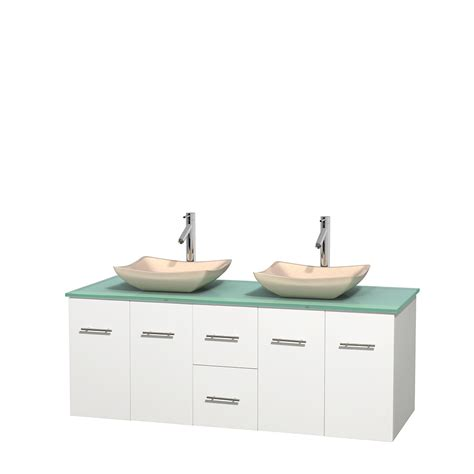 Glass Vanity Countertop by Wyndham Collection Wcvw00960dwhgggs2mxx Centra 60 Inch