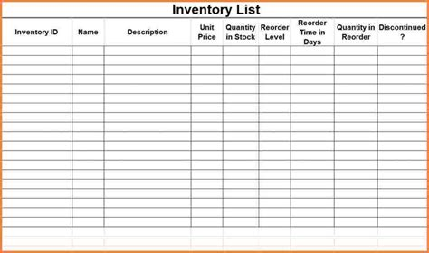 Inventory List Spreadsheet by 8 Inventory List Spreadsheet Excel Spreadsheets