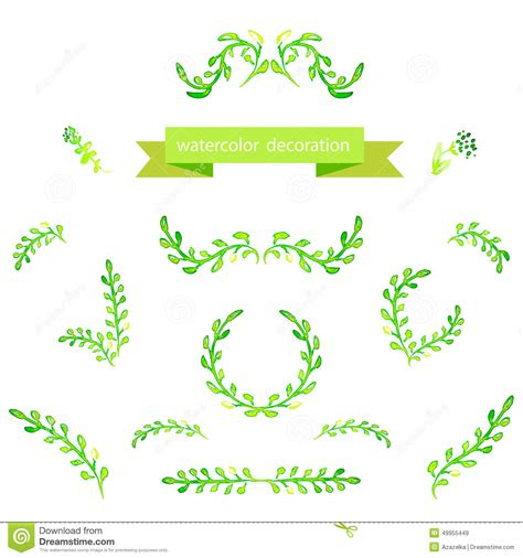 borders design elements vector watercolor green design elements brushes borders wreath