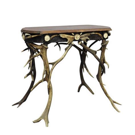 Small Antler Side Table With Great Decorations Circa 1890 Antler Table L