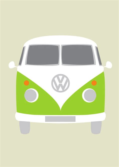 volkswagen van cartoon vw lime orange bus vw