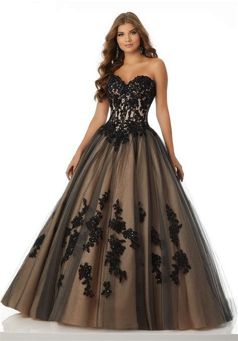beading and sequins sweetheart lace up appliques sequins tulle white black