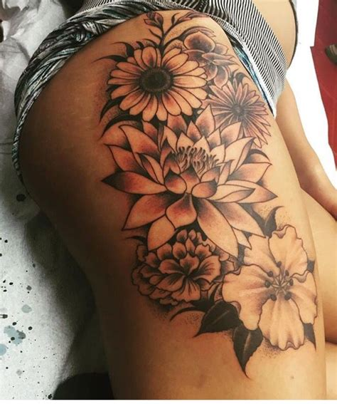 pretty thigh tattoo designs family birth month flowers all together cool idea