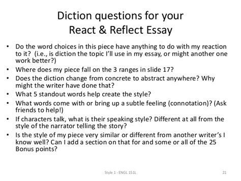 Diction Essay by Style 1 Diction