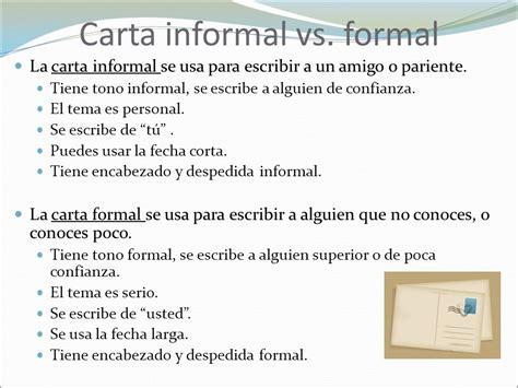 carta formal y una informal la carta ppt descargar
