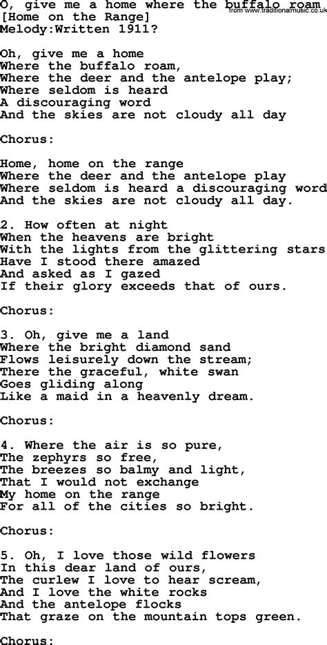american song lyrics for o give me a home where