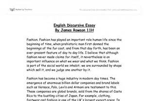 Discursive Essays Exles by Fashion Discursive Essay Gcse Miscellaneous Marked By Teachers