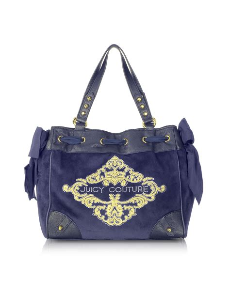 Couture Daydreamer Tote by Couture Large Ornate Velour Daydreamer Tote In Blue
