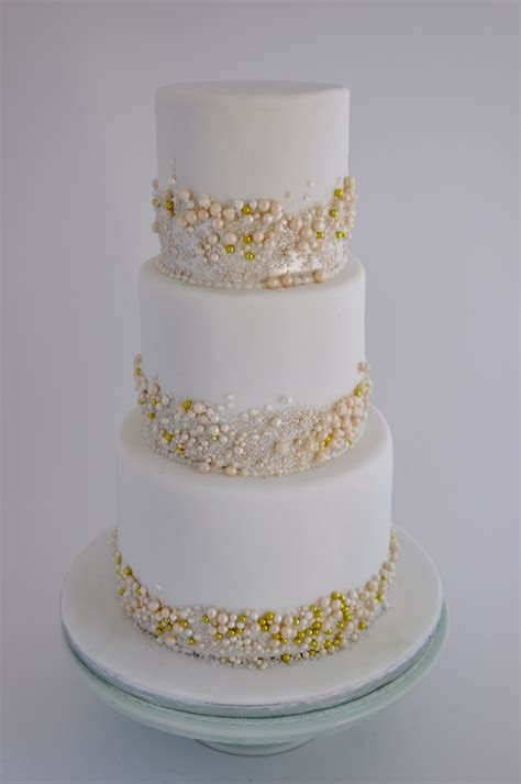 Pearl Cake rozanne s cakes three tier white and gold pearls cake