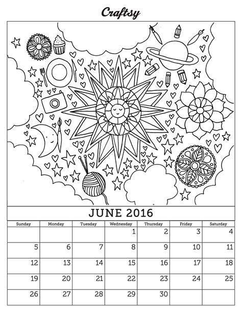 june 2016 coloring book calendar page