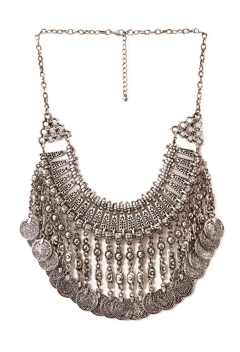 forever 21 fringed bib necklace in silver antic silver