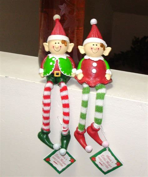 pair of elf shelf sitters new ganz holiday christmas decor