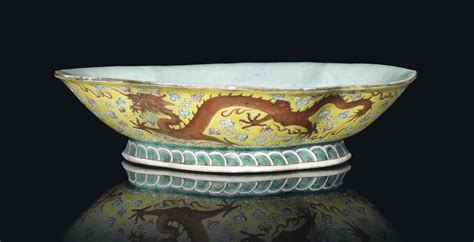 chinese yellow ground famille rose lobed dragon bowl