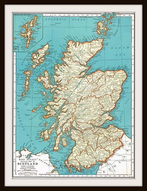printable road maps of scotland antique map england scotland 1939 map page buy 3
