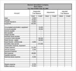 Trial Balance Template Free by Trial Balance Worksheet Template Davezan