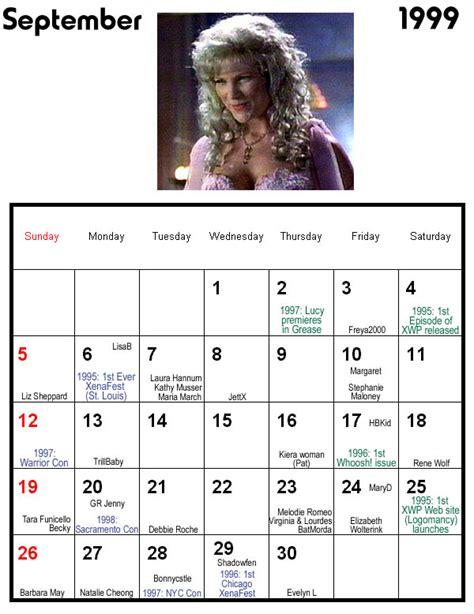 March 1999 Calendar Recurring In The Xenaverse 2001 Calendar Interviews 1 3