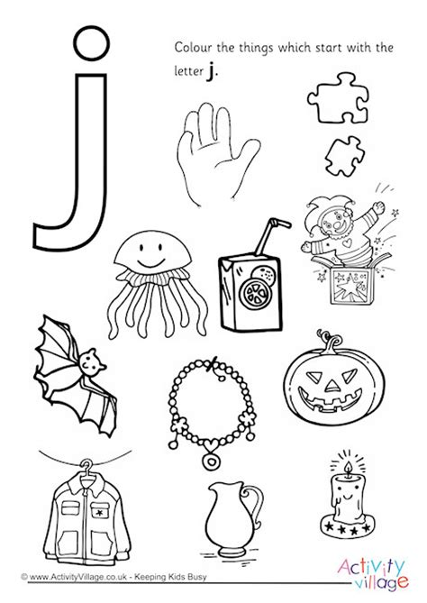 color that starts with the letter j start with the letter j colouring page