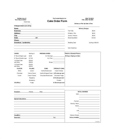 8 Free Printable Order Form Sles Sle Templates Cake Pop Order Form Template Free