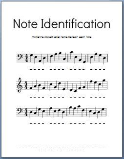 Note Identification Worksheet by Theory Worksheets Ultimate Stash 50 Free