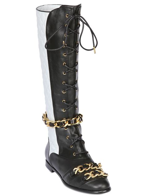 lyst moschino 25mm chain quilted leather boots in black