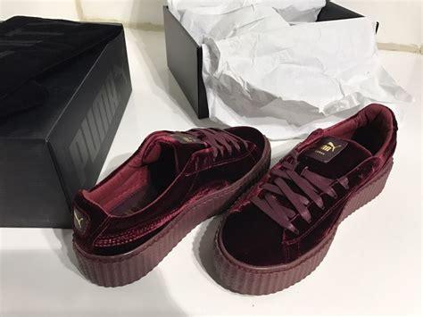 X Rihana Velvet Creepers Burgundy For new rihanna fenty velvet creepers burgundy maroon royal purple creeper ebay