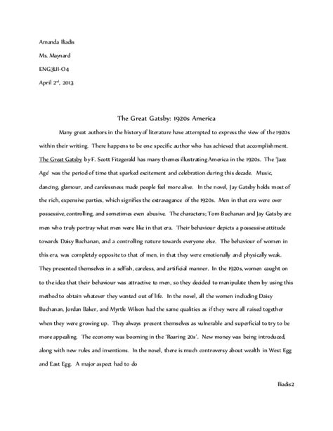 The Great Gatsby The American Essay by Gatsby In 1920s America Essay Grade 11