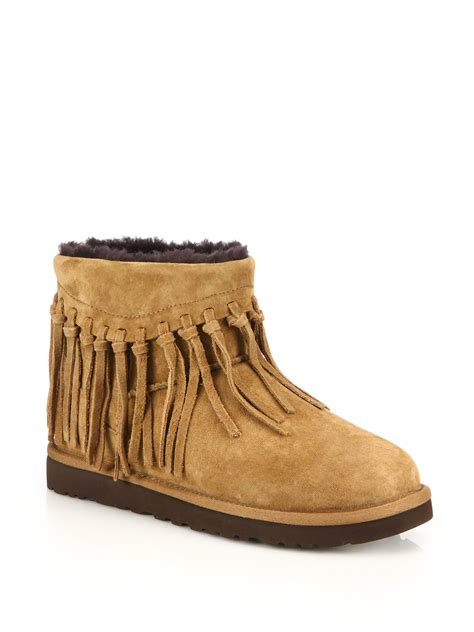 suede boots with fringe lyst ugg wynona fringed suede boots in brown