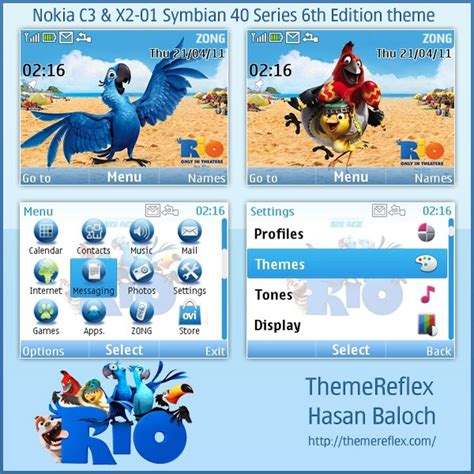 themes nokia x2 01 anime rio animated theme for nokia c3 x2 01 hasan baloch