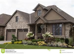 stucco stone house pretty garden royalty free stock