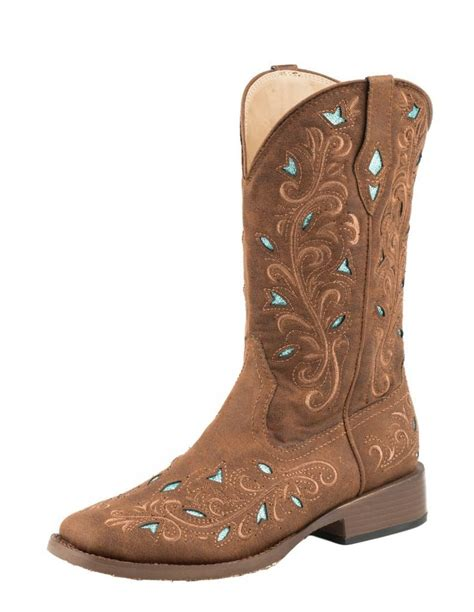 roper shoes womens roper western boots womens cowboy bling faux brown 09 021