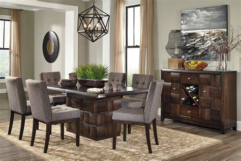 modern dining room sets for 8 8 piece contemporary dining room set dark brown wood dark