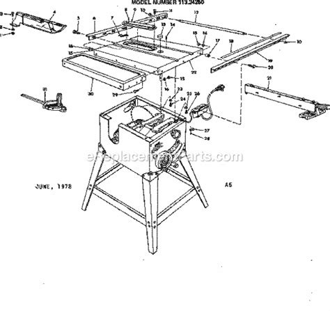 table saw replacement parts craftsman 11324250 parts list and diagram
