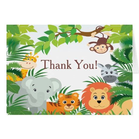 Gift Card Jungle - modern jungle safari baby shower thank you stationery note card zazzle