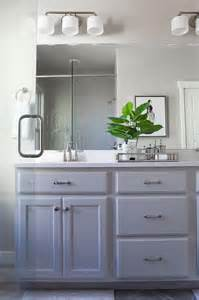 Gray Bathroom Cabinets Grey Painted Bathroom Cabinets With Satin Nickel Pulls Transitional Bathroom
