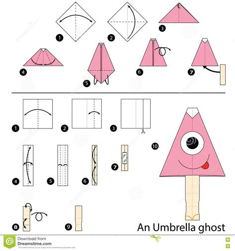 How To Make Paper Ghost For - step by step how to make origami an umbrella