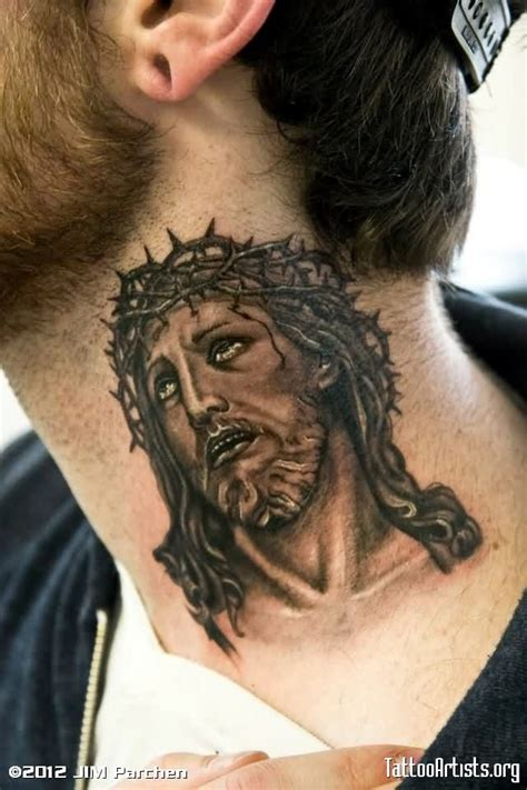 jesus tattoo neck 70 fantastic neck tattoos