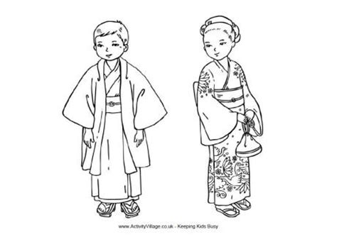 japanese boy coloring page japanese children colouring page